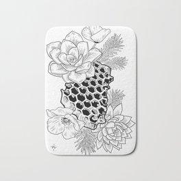 Succulents & Honeycomb Bath Mat