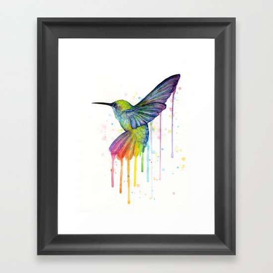 Hummingbird Rainbow Watercolor Framed Art Print