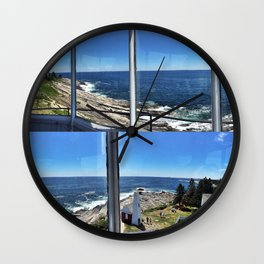 View from Inside Pemaquid Point Lighthouse in Maine (3) Wall Clock
