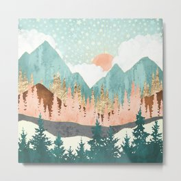 Winter Forest Vista Metal Print