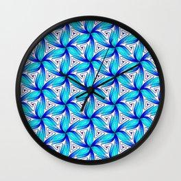 3D Zen Hues of Blues Light Cyan to Ocean Blue Radial Spiral Spirit Organic Wall Clock