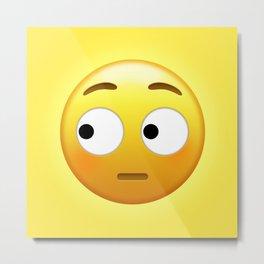 Side Eye Face Emoji | Pop Art Metal Print