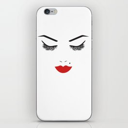 Beauty Face with Red Lips iPhone Skin