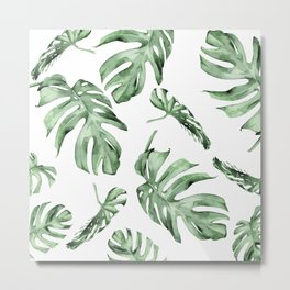 Monstera Pattern Green #society6 #buyart Metal Print