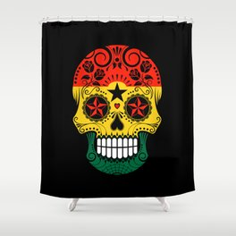 Sugar Skull with Roses and Flag of Ghana Shower Curtain