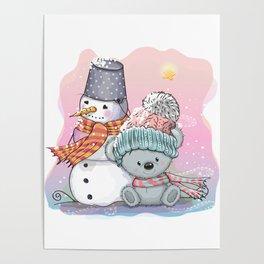 Cute Cartoon Teddy Bear in a knitted cap Poster