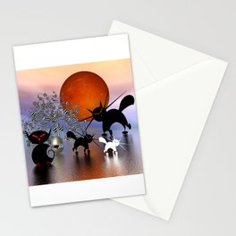 mooncats and the aliens Stationery Cards