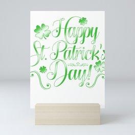 Happy St Patrick's Day St Paddy's Shamrock Lacrosse Beer Festival Gift Mini Art Print