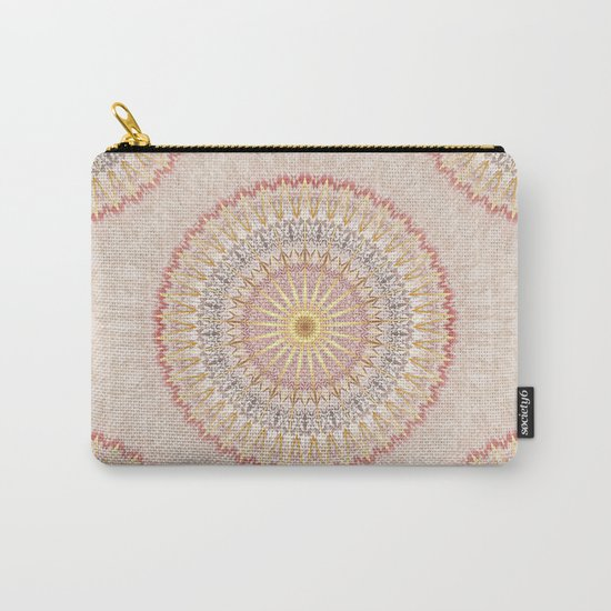 Beige Red Gold Mandala Carry-All Pouch