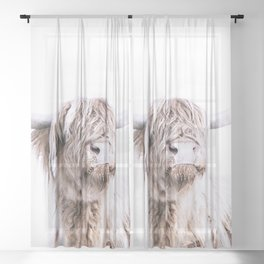 HIGHLAND CATTLE PORTRAIT Sheer Curtain