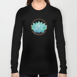 Modern Blue Succulent with Metallic Accents Long Sleeve T-shirt