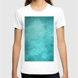 Textured limpet blue chevron pattern T-shirt