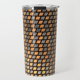 Irregular Chequers - Black Steel and Copper - Industrial Chess Board Pattern Travel Mug