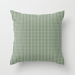 Small Dark Forest Green and White Gingham Check Throw Pillow