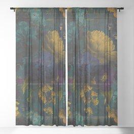 Before Midnight Blue Hour Vintage Flowers Garden Sheer Curtain