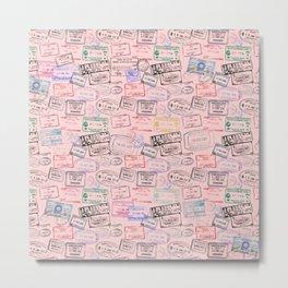 Worldly Traveler - Passport Pattern - Rose Pink Metal Print