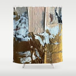 Compelling: a minimal, abstract mixed-media piece in gold, pink, black and white by Alyssa Hamilton Shower Curtain