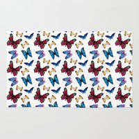 butterflies Area & Throw Rugs featuring Butterflies by Katerina Izotova Art Lab