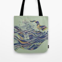huebucket Tote Bags featuring OCEAN AND LOVE by Huebucket