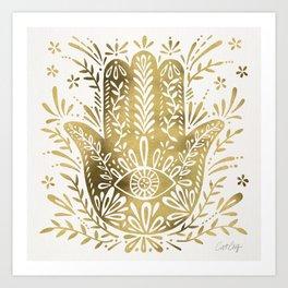 Hamsa Hand – Gold Palette Kunstdrucke