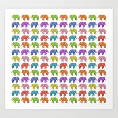 Colorful Parade of Elephants in Red, Orange, Yellow, Green, Blue, Purple and Pink Art Print
