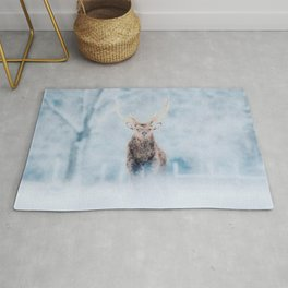 Deer in the snow watercolor painting  Rug