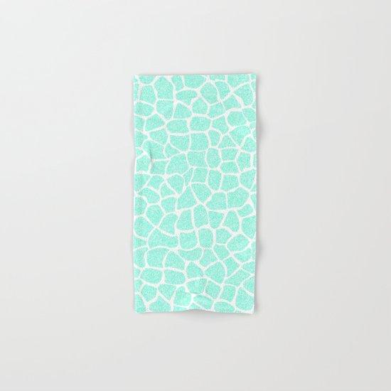 Light Blue Glitter Giraffe Print Hand & Bath Towel