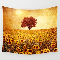 sunflowers Wall Tapestries featuring lone tree & sunflowers field by Viviana Gonzalez