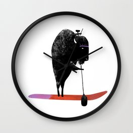 Buffalo goes paddle boarding in the ocean on the West Coast Wall Clock