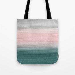 Touching Teal Blush Gray Watercolor Abstract #1 #painting #decor #art #society6 Tote Bag