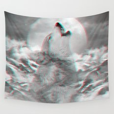Maybe the Wolf Is In Love with the Moon v.2 (3D Effect) Wall Tapestry
