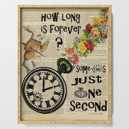 white rabbit alice in wonderland how long is forever Serving Tray