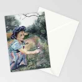 girl in the olive grove Stationery Cards