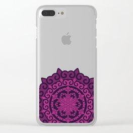 Pink Mandala on Dark Purple Clear iPhone Case