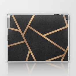 Dark Grey and Gold Textured Fragments - Geometric Design Laptop & iPad Skin