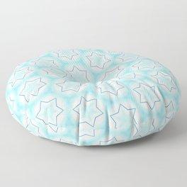 Shiny light blue winter star snowflakes pattern Floor Pillow