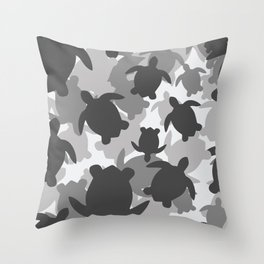 Turtle Camouflage Black and White Throw Pillow