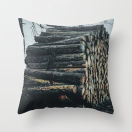 Poltery Site (Wood Storage Area) After Storm Victoria Möhne Forest 4 dark Throw Pillow
