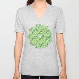 Mandala Green Leaves Unisex V-Neck