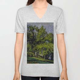 Chestnut Trees above a River Unisex V-Neck
