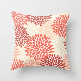 Floral Pattern, Orange, Red, Peach, Pale Yellow, Flowers Print Throw Pillow