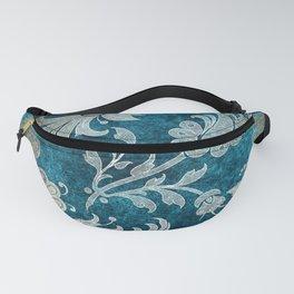 Aqua Teal Vintage Floral Damask Pattern Fanny Pack