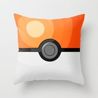 pokeball Throw Pillows featuring Orange Pokeball by Amandazzling