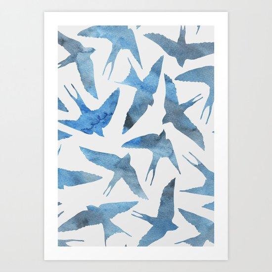 Watercolor blue birds Art Print