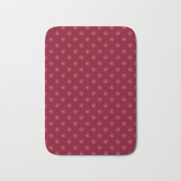 Coral Pink on Burgundy Red Snowflakes Bath Mat