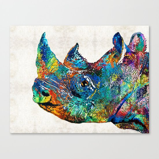 Rhino Rhinoceros Art - Looking Up - By Sharon Cummings Canvas Print