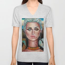 Memories of Dali Fantasy Surrealism by Laurie Leigh Unisex V-Neck