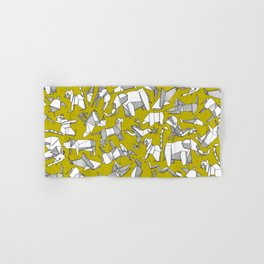 origami animal ditsy chartreuse Hand & Bath Towel
