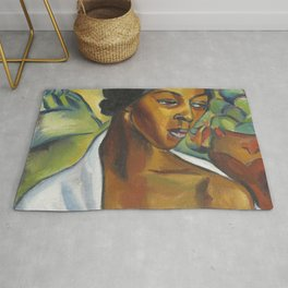 African American Masterpiece Female Portrait expressionist oil on canvas painting by I. Stern Rug