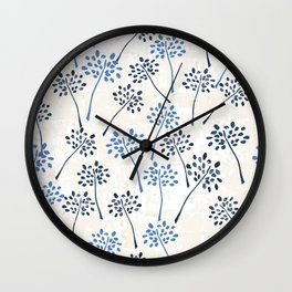 Indigo floral watercolor pattern Wall Clock
